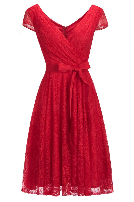 A-line Shoet Sleeves V-neck Lace Dresses with Bow Sash