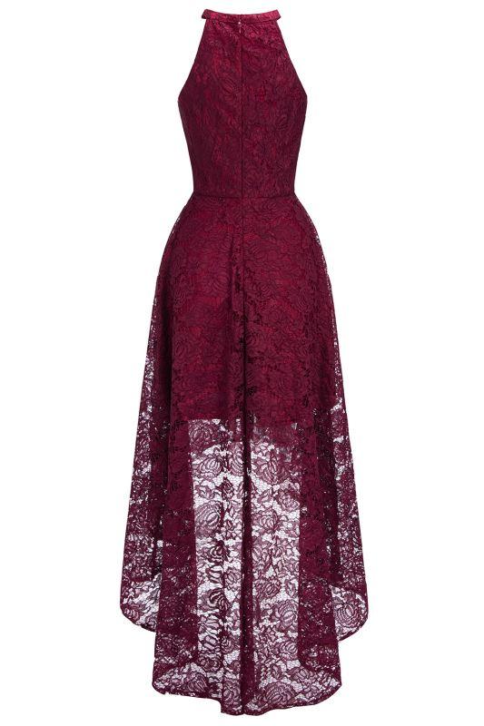 Halter Sleeveless Sheath Asymmetrical Burgundy Lace Dresses