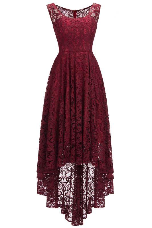 Beautiful Sleeveless A-line Crew Hi-lo Lace Dresses