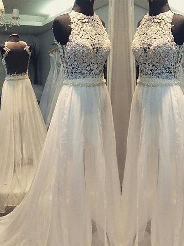 Sweep Train Elegant Sexy Sleeveless Bridal Gowns | Chiffon A-Line Wedding Dresses Cheap Online