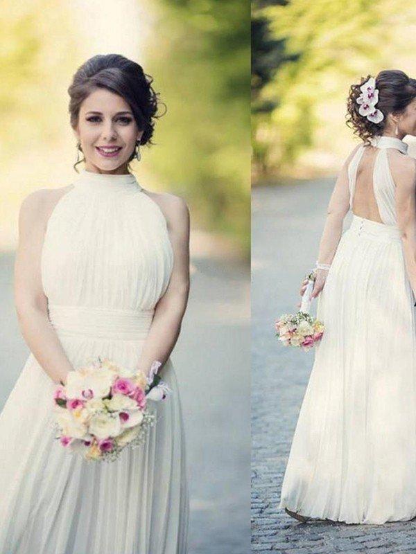 Floor Length Sexy Sleeveless Bridal Gowns | Cheap Halter Ruffles Tulle Wedding Dresses