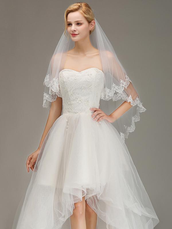 Elegant Two Layers Lace Edge Wedding Veil Appliques Long Bridal Veil