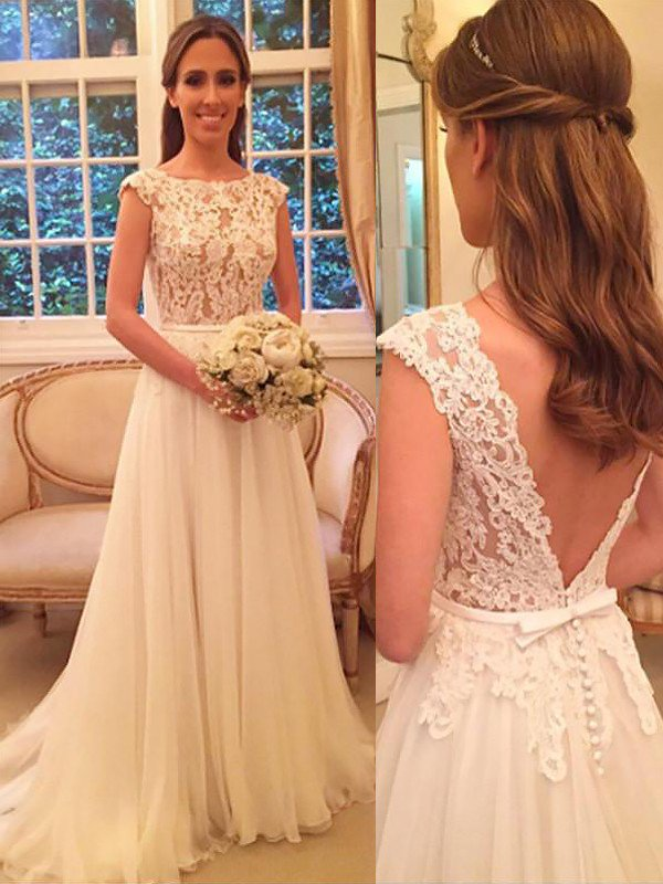 Elegant Sleeveless Sweep Train Bridal Gowns | Cheap A-Line Chiffon Wedding Dresses