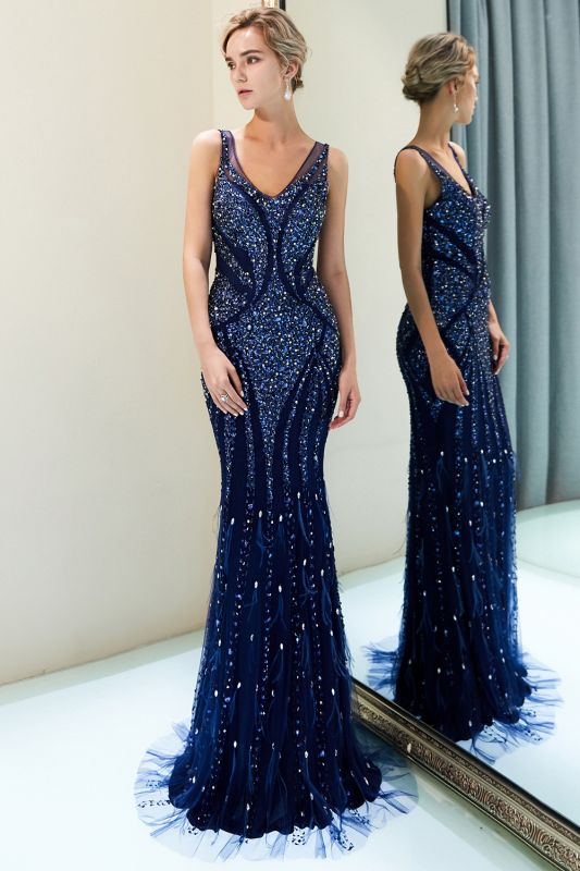Mermaid Sleeveless V-neck Sequins Pattern Long Evening Gowns