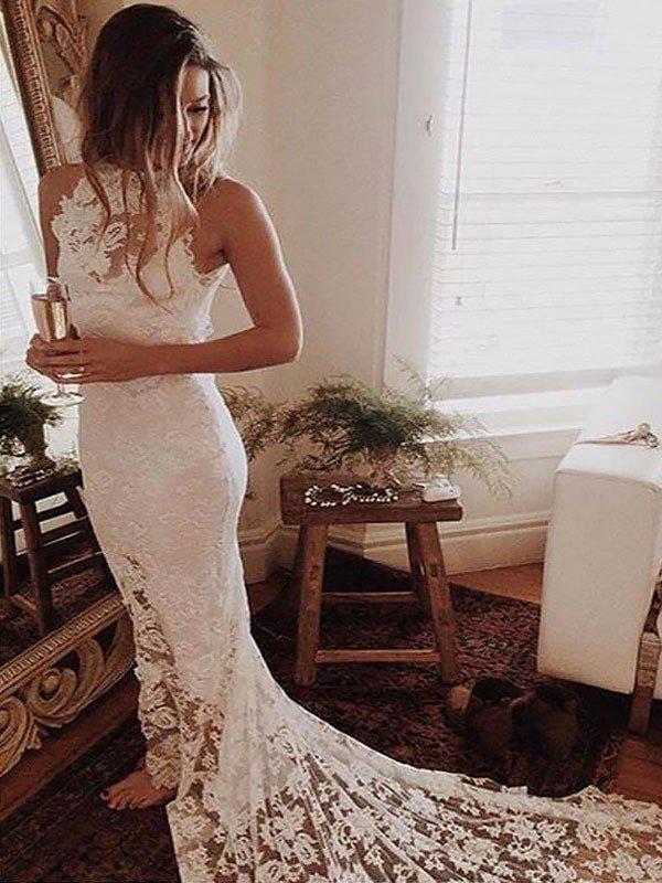 Lace Mermaid Sleeveless Bridal Gowns Sexy   Cheap Halter Chapel Train Wedding Dresses