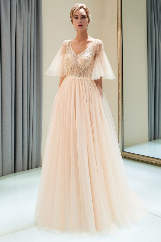 Floor Length A-line V-neck Beading Tulle Evening Gowns with Sleeves
