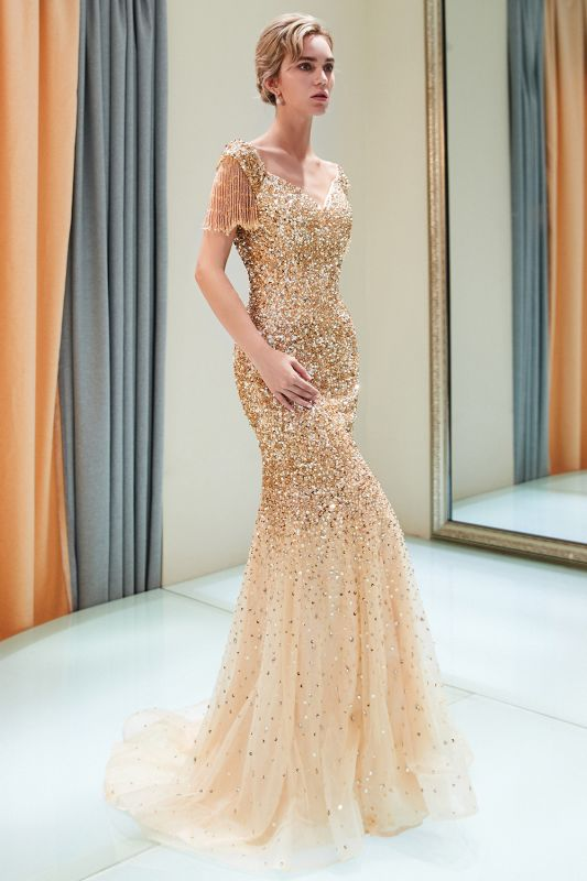 Off-the-shoulder V-neck Mermaid Floor Length Sequins Evening Dresses