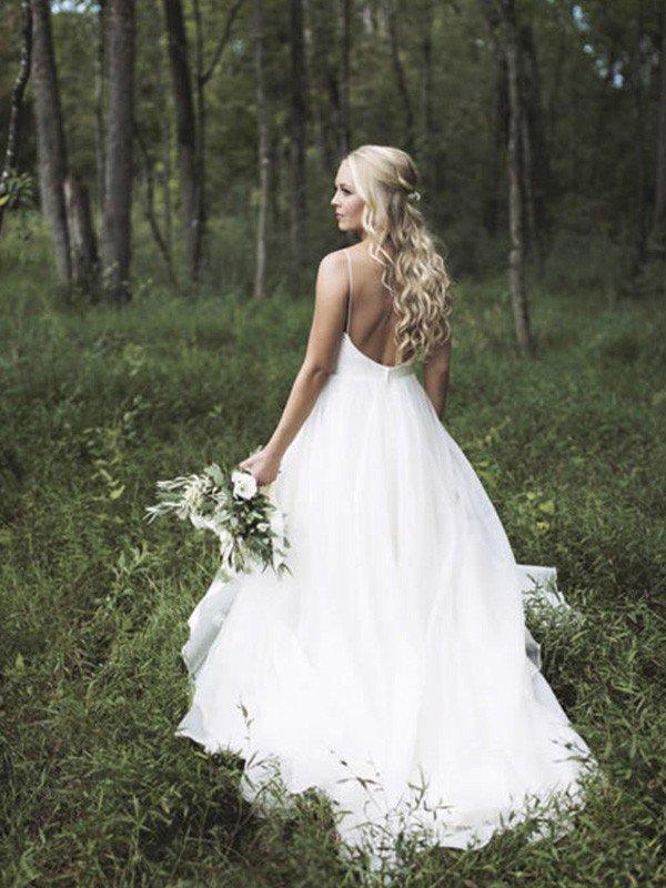 Spaghetti Straps Lace Organza Sexy Bridal Gowns | Cheap V-neck Sleeveless Court Train Wedding Dresses