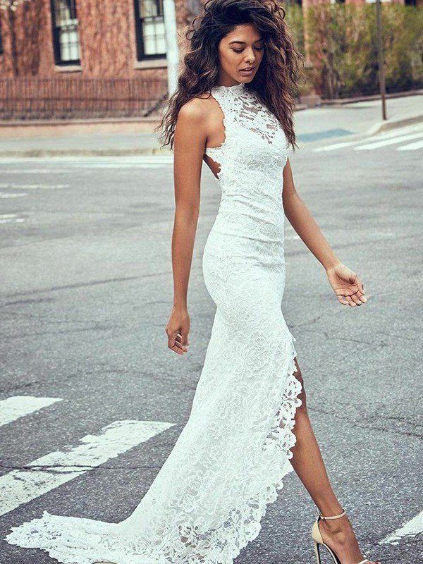 Lace Mermaid Cheap Bridal Gowns with Sweep Train | Sexy Sleeveless Halter Wedding Dresses