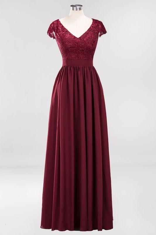 A-line Chiffon Lace V-Neck Sleeveless Floor-Length Bridesmaid Dresses with Ruffles
