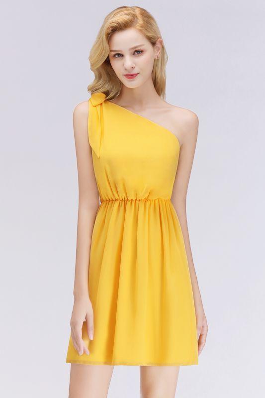 Elegant A-Line Chiffon One-Shoulder Sleeveless Ruffles Short Bridesmaid Dresses with Bow