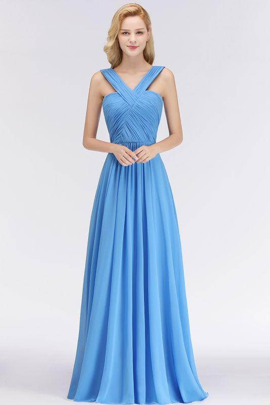 Elegant A-Line Chiffon Straps Sleeveless Ruffles Floor-Length Bridesmaid Dresses