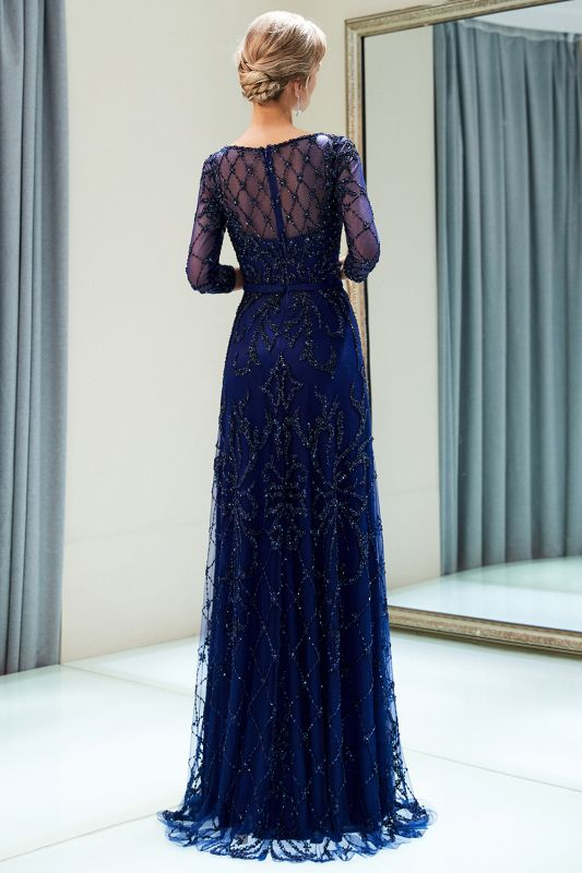 A-line Illusion Neckline Long Beading Evening Gowns with Sleeves