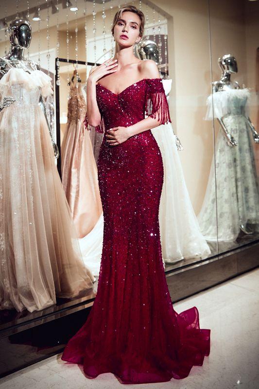 Off-the-shoulder V-neck Mermaid Floor Length Sequins Evening Dresses