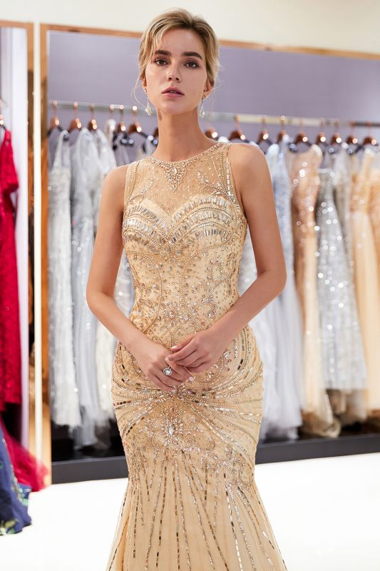 Glamorous Beading Mermaid Sleeveless Long Evening Dresses