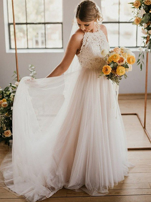 Sexy Lace Sleeveless Tulle Floor Length Bridal Gowns | Sexy Halter Wedding Dresses Cheap Online