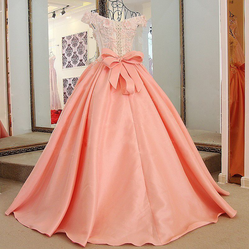 Lace Off-The-Shoulder Bow Ball Gown Sweep Train Prom Dresses