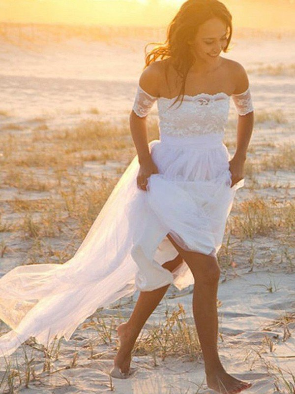 Sleeveless A-Line Floor Length Bridal Gowns Cheap   Sexy Off The Shoulder Lace Chiffon Wedding Dresses