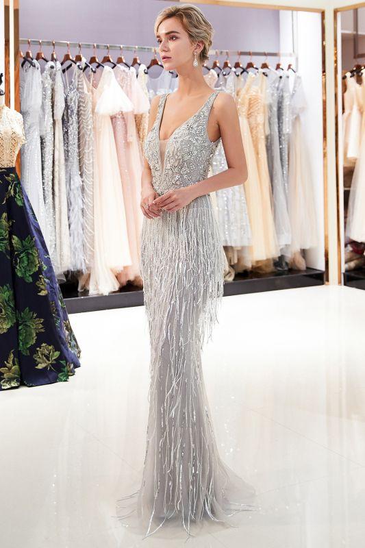 Deep V-neck Mermaid Sleeveless Tassel Beading Party Dresses
