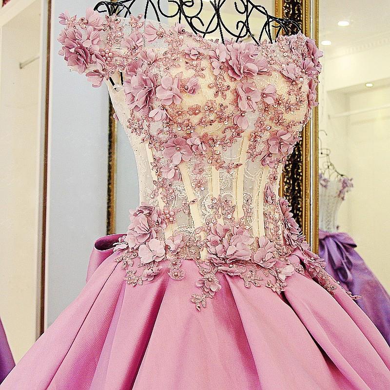 Lace Court Train A-Line Ball Gown Applique Bow Evening Dresses