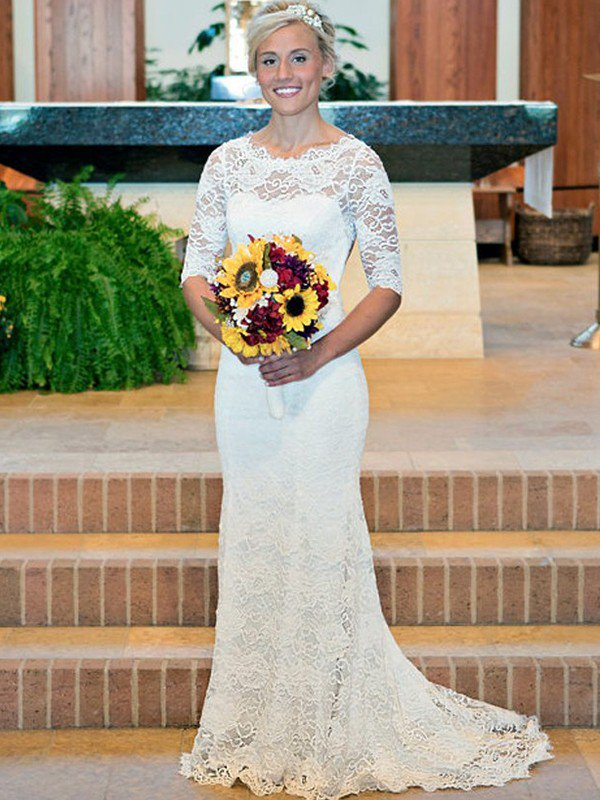 Half Sleeve Sweep Train Close-fitting Bridal Gowns | Cheap Scoop Wedding Dresses Online