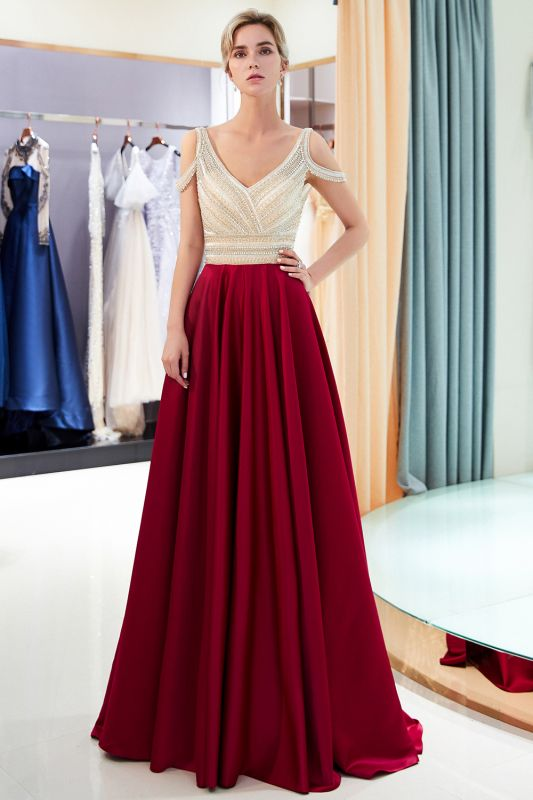 Burgundy A-line V-neck Sleeveless Crystal Beading Evening Dresses