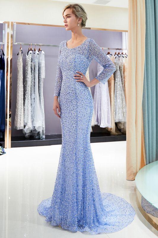 Mermaid Floor Length Long Sleeves Sequins Formal Party Dresses