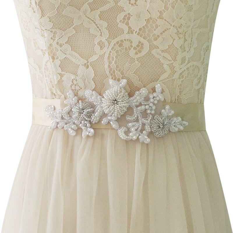 Beautiful Satin Flower Wedding Sash with Pearls