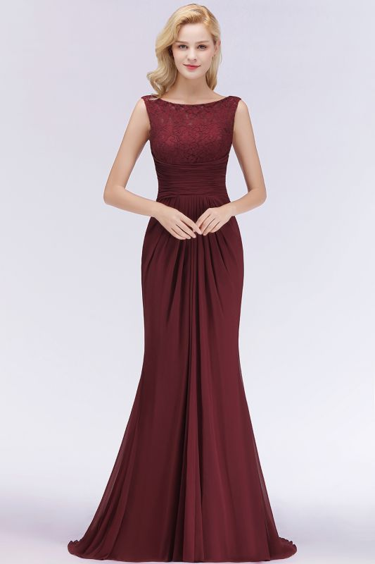 Elegant A-Line Burgundy Chiffon Lace Scoop Sleeveless Ruffles Floor-Length Bridesmaid Dresses