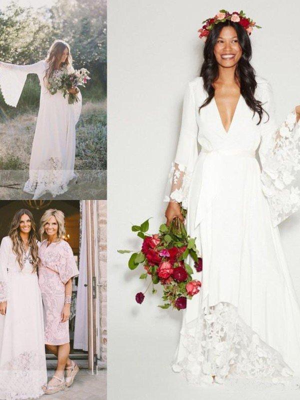 Floor Length Lace Sexy Bridal Gowns Cheap   Ribbon V-neck Chiffon Long Sleeve Wedding Dresses