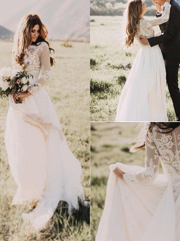 Long Sleeve Bridal Gowns Cheap Online   Floor Length Appliques Tulle Sexy Wedding Dresses