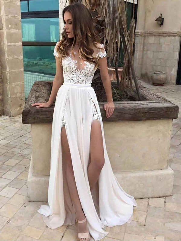Sleeveless V-neck Lace Chiffon Sexy Bridal Gowns   Cheap Floor Length Wedding Dresses