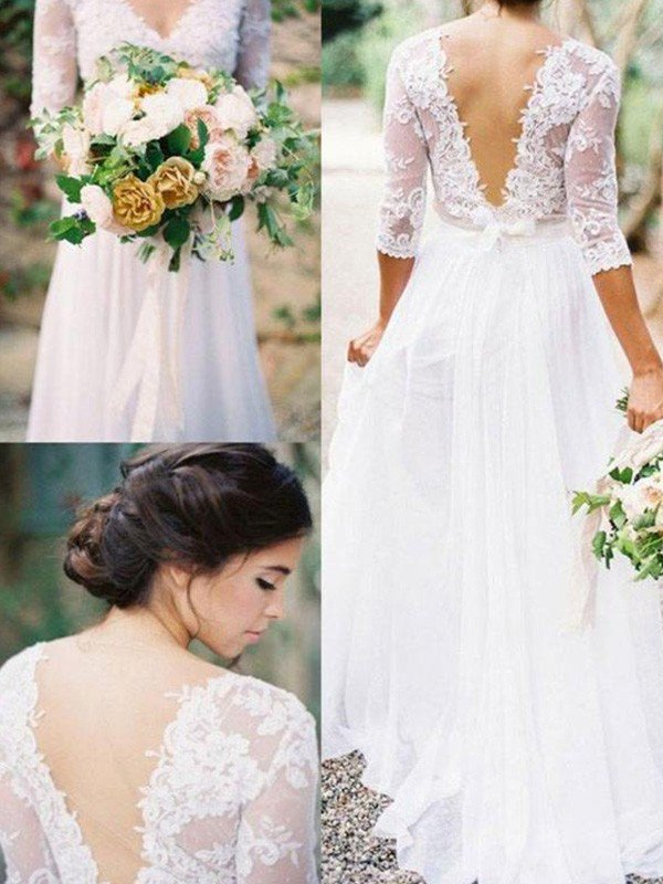 Lace Chiffon V-neck Floor Length Bridal Gowns Cheap   Half Sleeve Appliques Sexy Wedding Dresses