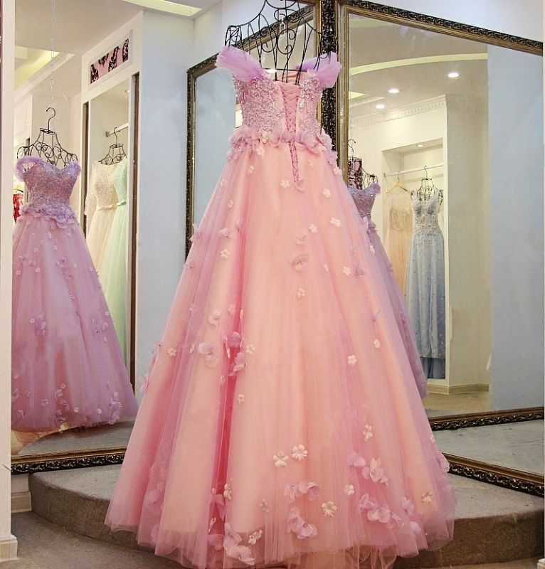 Ball Gown Tulle Off-The-Shoulder Floor-Length Applique Prom Dresses