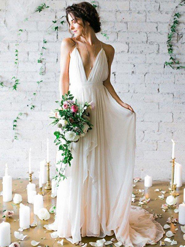Sweep Train A-Line Sleeveless Bridal Gowns Cheap | Ruffles Chiffon Spaghetti Straps Wedding Dresses Sexy
