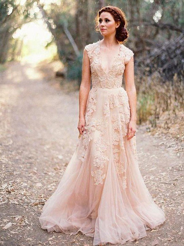 Tulle A-Line Sweep Train Bridal Gowns with Appliques | Sexy Sleeveless V-neck Wedding Dresses Cheap