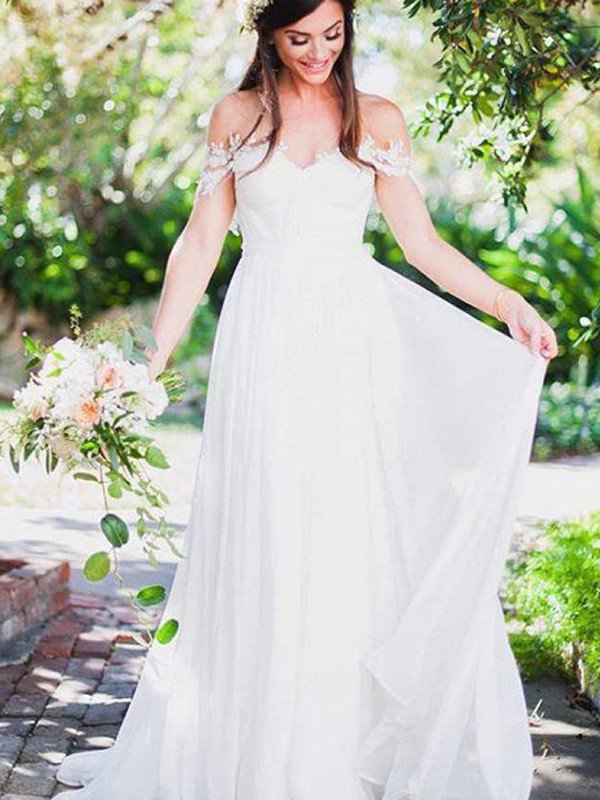 Sweep Train Sexy Chiffon Sleeveless Bridal Gowns | Appliques Lace Off The Shoulder Wedding Dresses