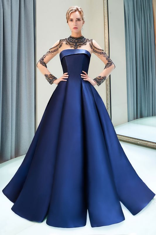 Beading Neckline A-line Long Sleeves Satin Evening Gowns