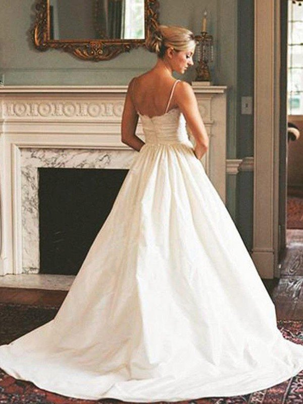 Sweep Train Ruched A-Line Satin Bridal Gowns Cheap | Sexy V-neck Sleeveless Wedding Dresses