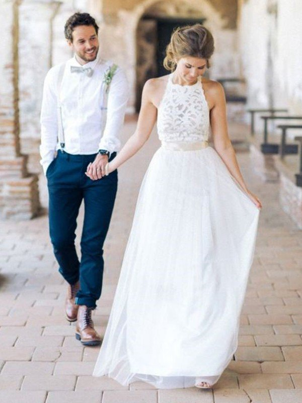 Floor Length A-Line Cheap Halter Tulle Sleeveless Wedding Dresses Online