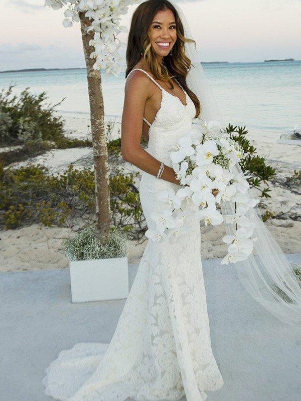 Spaghetti Straps Lace Sleeveless Bridal Gowns Sexy | Cheap Mermaid Sweep Train Wedding Dresses