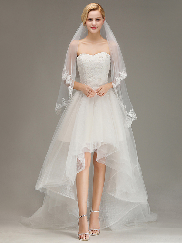 Two Layers Tulle  Appliques Comb Wedding Veil