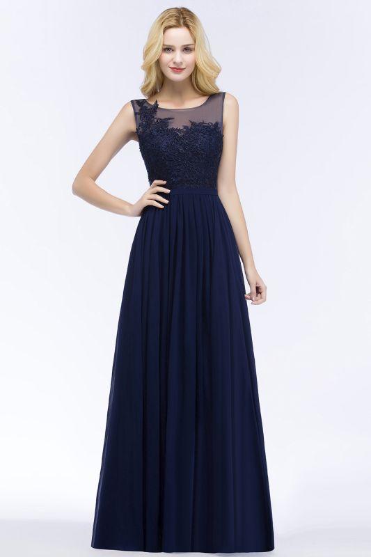 Chiffon Appliques Scoop Sleeveless Floor-Length Bridesmaid Dresses