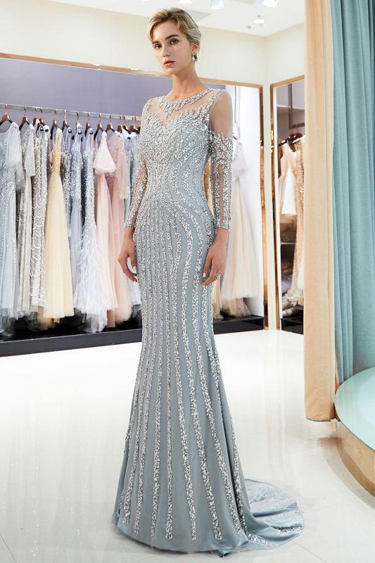 Mermaid Long Sleeves Sequined Pattern Evening Dresses
