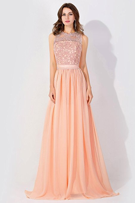 7bfd1a3b74b9 A-Line Chiffon Lace Jewel Sleeveless Floor-Length Bridesmaid Dress with  Ruffles  Item Code  D154294538503368