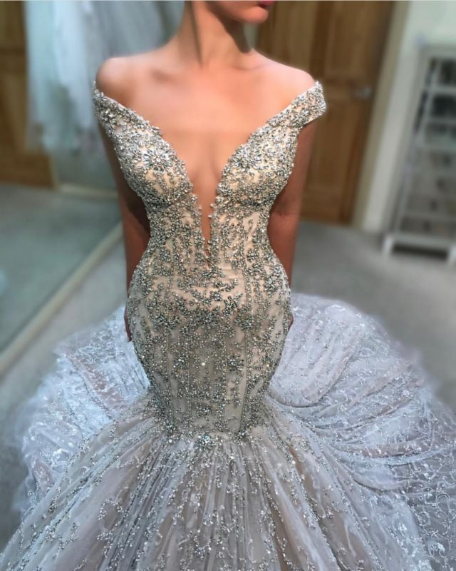 Charming Off The Shoulder Sexy Bridal Gowns | Cheap Tulle Beading  Mermaid Court Train Wedding Dress