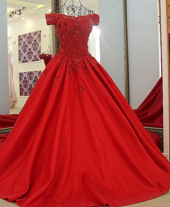 Chic Red A Line Off-the shoulder Beadings Lace-up Batreau Evening Gown