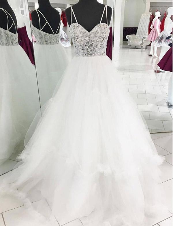 Glamorous Tulle Spaghetti Straps  Beading White Long Prom Evening Dress