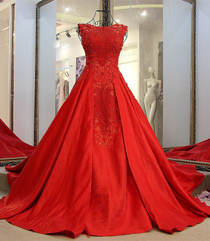 Elegant Red Bateau Sleeveless Backless Floor-Length Evening Gown With Bow