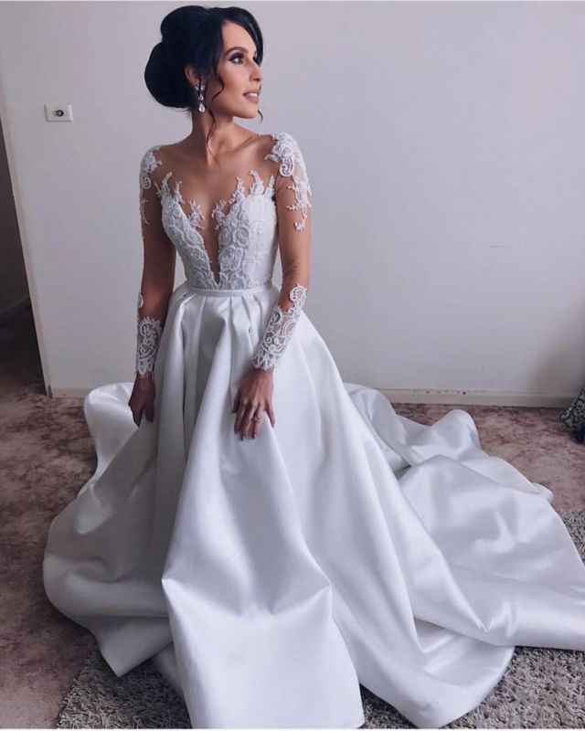 Elegant V-Neck Cheap Long Sleeve A-Line Lace Appliques Wedding Dresses Sexy